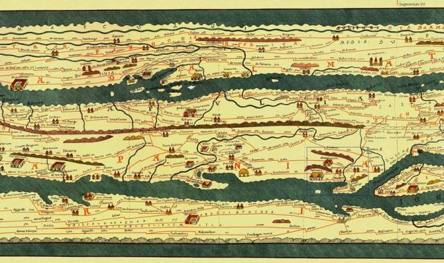 Stralcio della grande Tabula Peutingeriana (copia del XII-XIII secolo di un'antica carta romana) che abbraccia la parte centrale della Campania. In basso a destra si nota il promontorio dei Monti Layyari (Penisola Sorrentina) con di fronte l'isola di Capri.